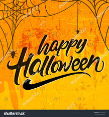 halloween typographic banner calligraphy scary elements stock
