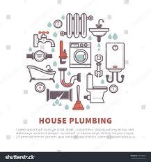 Plumbing House House Plumbing Vector Poster Bathroom Kitchen Stock Vector