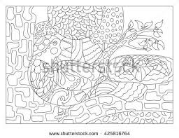 coloring page outlined bird on nest stock vector 427285087