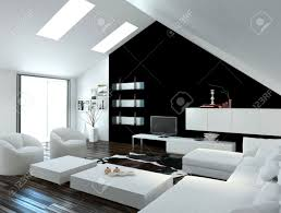 modern compact loft living room interior with skylights in the