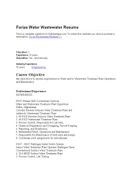 Wastewater Treatment Plant Operator Resume Resume Water Wastewater Treatment Plant System Operators Entry