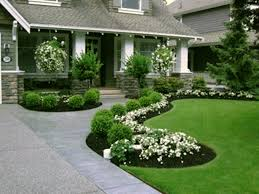 yard design patio outdoor beautiful landscaping with green round grass and