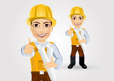 cartoon engineer or builder with blueprints stock vector image