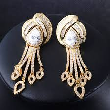 gold earrings for marriage tassel earrings jewelry cubic zirconia brand earrings