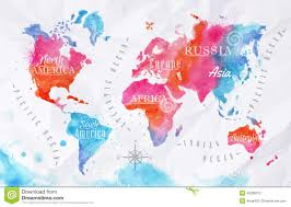 Australia On A World Map by Watercolor World Map Pink Blue Stock Vector Image 45280312