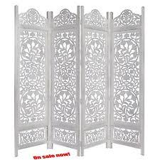 22920 cotton craft 4 panel folding screen room divider hand carved