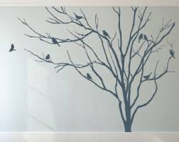 Stick On Wall Realistic Pine Tree Branch With Birds Decals Wall Sticker