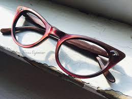 red cat eye frames retro focus eyewear