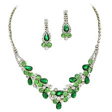 prom necklace emerald green w lime green accents v shaped