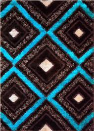 Area Rug Styles Royal Collection Turquoise Blue Brown Contemporary Design Shaggy