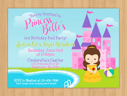Invitation Card For Pool Party Princess Belle Pool Party Birthday Invitation