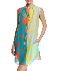 diane von furstenberg sleeveless tie neck knit dress blue multi