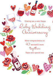 anniversary card 40th anniversary card celebration design size 6 25 x 9 by