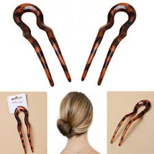 hair pin 2 chignon hair pin brown women plastic stick vintage cellulose