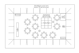 party floor plan cad tent layout for wedding reception with 75 guests in bellingham