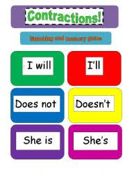 contractions memory and matching cards