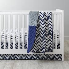 blue chevron crib bedding the land of nod