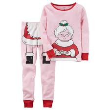 s mrs claus graphic top bottoms pajama set