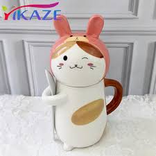 cat animal dog cute kawaii shape ceramic mugs with spoon office