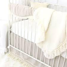 boho linen and ivory fringe bumperless crib bedding caden lane