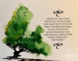watercolor painting of oak tree with bible verse original