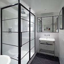 designer black grid shower screens from room h2o art deco style shower screens
