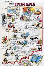 Travel Map Of Usa by Large Tourist Illustrated Map Of Indiana State Vidiani Com