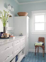 bathroom flooring green colored shower blue walls small bathroom