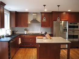 kitchen staining kitchen cabinets darker rustic brown varnished oak wood cabinetry gray red combination color