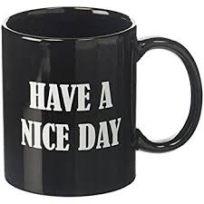 Coffee Cup generic ceramic a day middle finger
