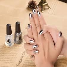 2pcs silver metallic mirror effect metal nail art polish varnish