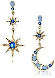 moon earrings betsey johnson mystic baroque blue and gold