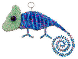 beaded chameleon ornament wireworx beaded animal figurine