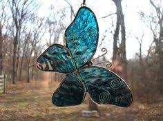 stained glass butterfly l blue streaked stained glass butterfly suncatcher glass butterfly