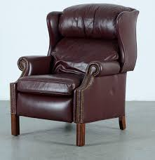 Reclining Wingback Chairs Hancock And Moore Wingback Leather Recliner Ebth