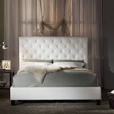 Upholstered Bed Frame Full Bedroom Elegant Tufted White Headboard Which Combined With