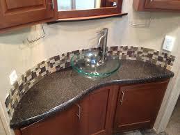 bathroom vanity countertop ideas brown veneered plywoodn vanity trough sink with wooden rack and