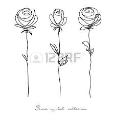 rose white pink rose flower outline sketch isolated rose sign