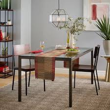 industrial glass dining table industrial textured glass pendant polygon west elm