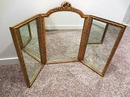 Gold Vanity Mirror Vintage Large Gold Gilt Bow Trifold Vanity Mirror Hollywood