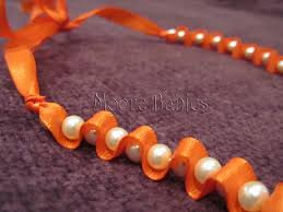 ribbon necklace making images Make a ribbon and pearl necklace dollar store crafts jpg