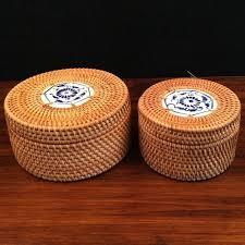 line Shop  handmade Rattan tea box decorative vintage tea
