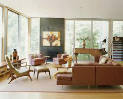Brown Sofa White Furniture Furniture Midcentury Modern Living Room Design Ideas With Brown