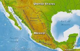 map of mexico and america mexico physical map