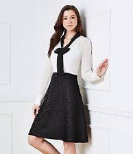karl lagerfeld paris womens size 12 black u0026 white bow neck fit