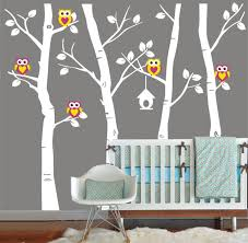 vinyl wall decal cute owl family birch tree decals trees owls bird