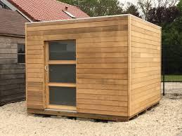 modele jardin contemporain abris modernes à toit plat cerisier abris de jardin en bois