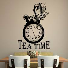aliexpress com buy funny clock silhouette tea time wall decals aliexpress com buy funny clock silhouette tea time wall decals for kitchen wall posters vinyl wall stickers home decal decor wall art mural s 832 from