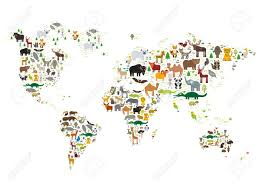 Maps For Kids Cartoon Animal World Map For Children And Kids Animals From