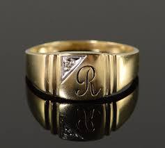 mens monogram ring 10k 5 3g diamond r monogram initial letter men s yellow gold ring